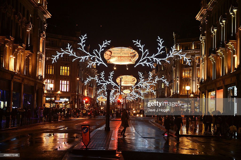 A general view of the Regent Street Christmas Lights sponsored by 'Night At The Museum Secret Of The Tomb' after being switched on by Take That at...