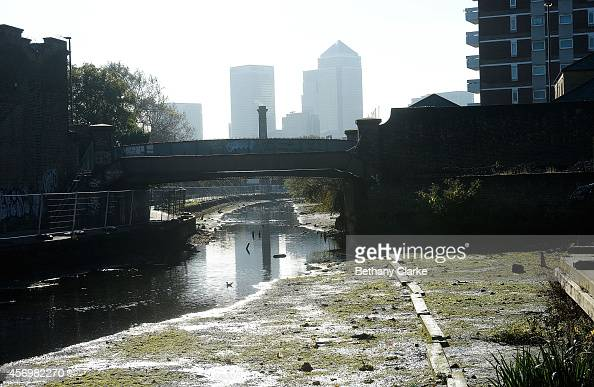 A general view of the Regent's Canal being drained ahead of the winter works program for The Canal River Trust The works are part of a wider...
