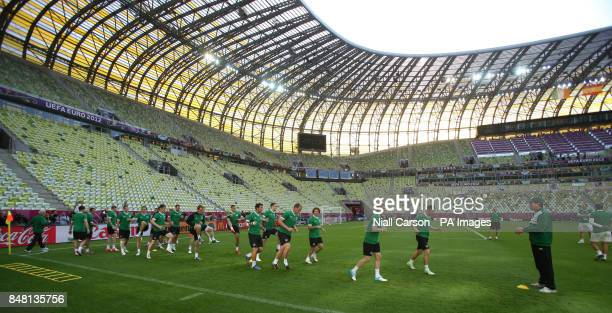 A general view of the Republic of Ireland squad during a training session at the PGE Arena Gdansk Poland