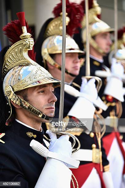 A general view of the Republican Honor Guard of the Elysee Palace prior to a bilateral meeting between Queen Elizabeth II and French President...