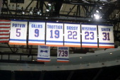 General view of the retired banners of Denis Potvin Clark Gillies Bryan Trottier Mike Bossy Bob Nystrom and Billy Smith at the home of the New York...