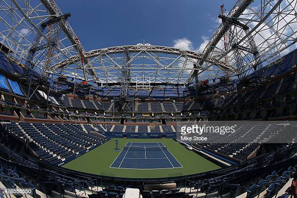 A general view of the retractable roof superstructre construction at USTA Billie Jean King National Tennis Center on June 10 2015 in the Flushing...