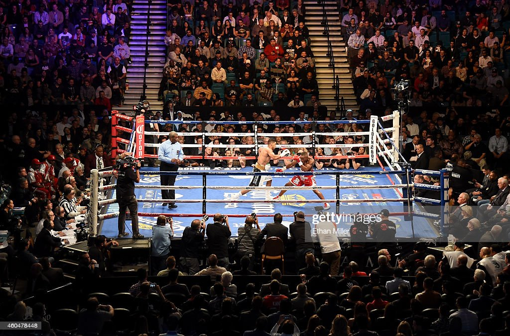 A general view of the ring as Amir Khan and Devon Alexander battle during their welterweight bout at the MGM Grand Garden Arena on December 13 2014...