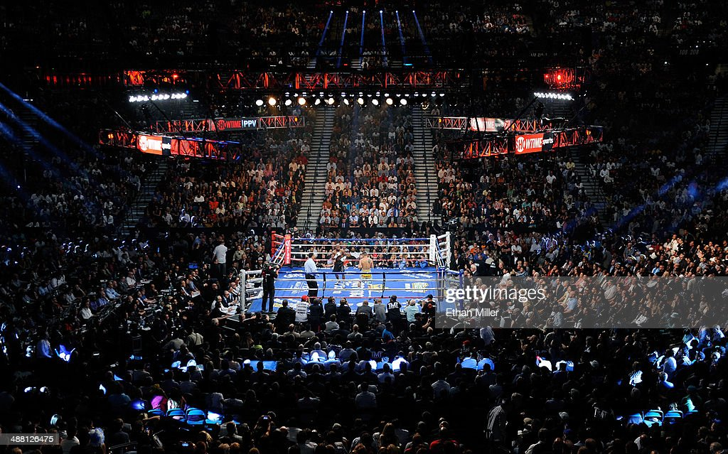 A general view of the ring as Floyd Mayweather Jr and Marcos Maidana battle during their WBC/WBA welterweight unification fight at the MGM Grand...