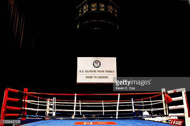 A general view of the ring prior to the 2012 US Men's Boxing Olympic Team Trials at the Mobile Civic Center on August 4 2011 in Mobile Alabama