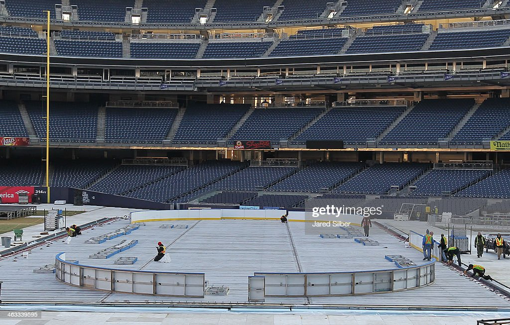 General view of the rink build for the 2014 Coors Light Stadium Series Games which are scheduled to be played on Sunday, January 26, 2014 and Wednesday, January 29, 2014 at Yankee Stadium on January 17, 2014 in the Bronx borough of New York City.