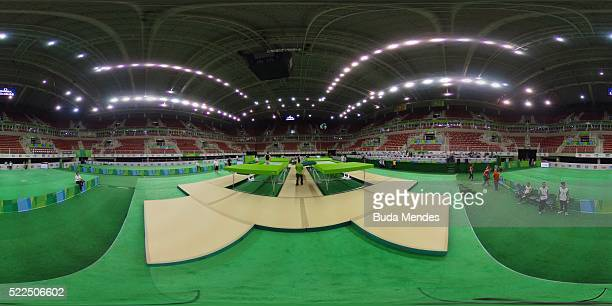 General view of the Rio Olympic Arena venue during the Final Gymnastics Qualifier Aquece Rio Test Event for the Rio 2016 Olympics at the Olympic Park...