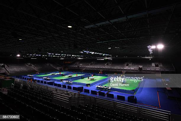 General view of the Riocentro 3 during a table tennis practice session Pavilion 3 on July 30 2016 in Rio de Janeiro Brazil