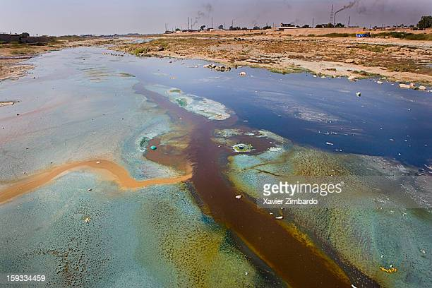 A general view of the river Bandi where pollution with heavy metal contamination from the local textile dyeing and printing industries has a...