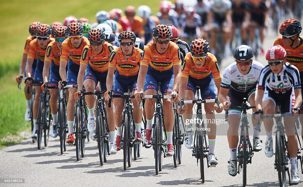 General view of the Riwal Platform Cycling Team leading the peloton during the Elite Men Road Race Championships on day three of the Danish Cycling Championships on June 26, 2016 in Vordingborg, Denmark.