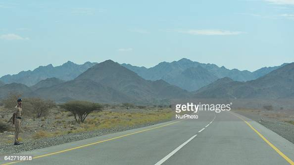 A general view of the road and mountains near Qafisah On Saturday February 18 in Samail Ad Dakhiliyah Region Oman