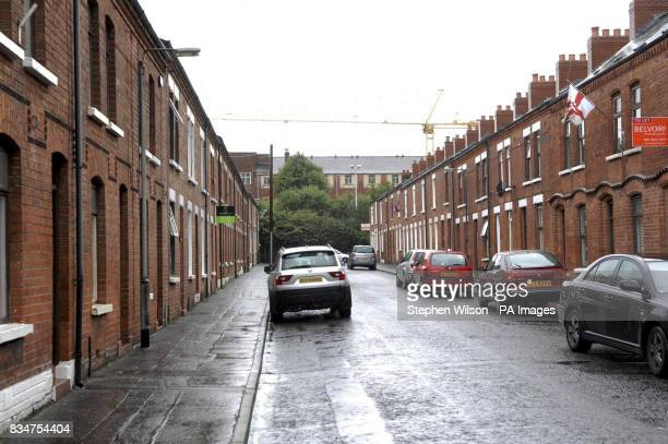 A general view of the road in Egeria South Belfast where a landlord placed a sign in the window advertising a property saying 'This property is not...
