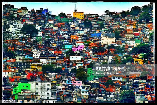 A general view of the Rocinha favela as the England team visit Complexo Esportivo da Rocinha on June 9 2014 in Rio de Janeiro Brazil