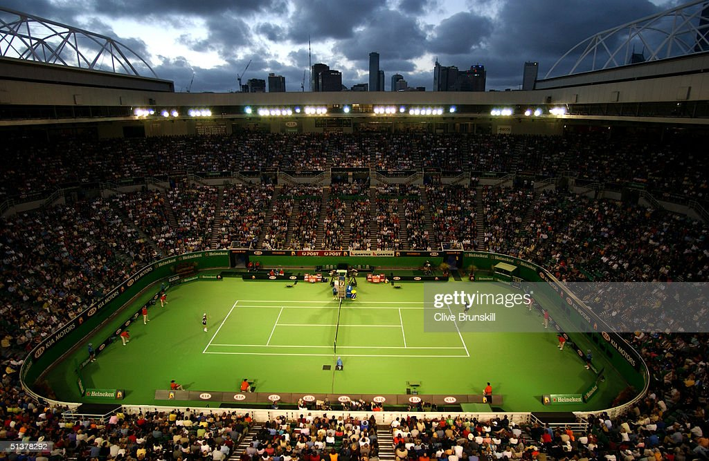A general view of the Rod Laver Arena as Lleyton Hewitt of Australia plays Radek Stepanek of the Czech Republic during the Australian Open Tennis...