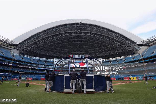 A general view of the Rogers Centre and the batting cage as the New York Yankees take batting practice before the start of their MLB game against the...