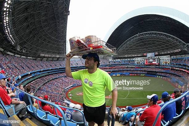A general view of the Rogers Centre as a vendor sells popcorn on Canada Day before the start of the Toronto Blue Jays MLB game against the Boston Red...