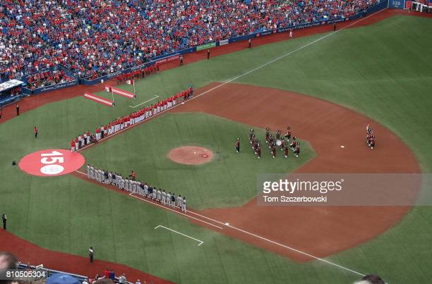 A general view of the Rogers Centre as the 48th Highlanders Pipe and Drum Band peforms during the playing of the American national anthem on Canada...