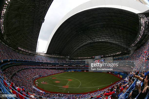 A general view of the Rogers Centre as the roof begins to open on Canada Day before the start of the Toronto Blue Jays MLB game against the Boston...