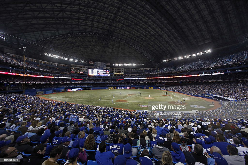 A general view of the Rogers Centre on Opening Day during the Cleveland Indians MLB game against the Toronto Blue Jays on April 2, 2013 at Rogers Centre in Toronto, Ontario, Canada.