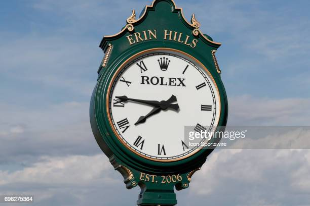 A general view of the Rolex clock at the practice green during a practice round for the 117th US Open at Erin Hills in Erin Wisconsin