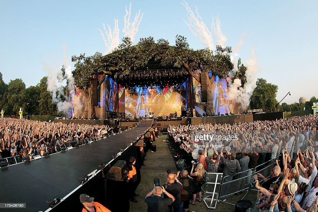 A general view of The Rolling Stones performing on stage during a headline performance as part of Barclaycard Present British Summer Time Hyde Park on July 13, 2013 in London, England.