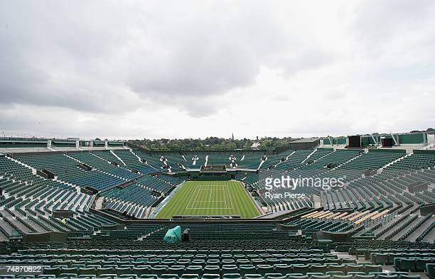 A general view of the roofless Centre Court during previews for the Wimbledon Lawn Tennis Championships at the All England Lawn Tennis and Croquet...
