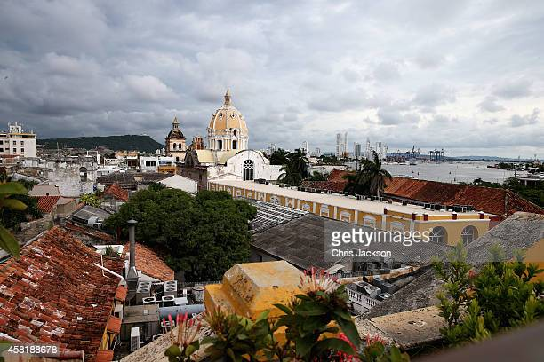 A general view of the rooftops of Cartagena on October 31 2014 in Cartagena Colombia The Royal Couple are on a four day visit to Colombia as part of...