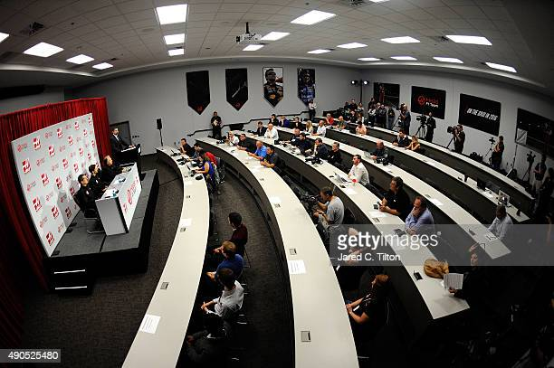 A general view of the room as Haas F1 Team announces Romain Grosjean of France as their driver for the upcoming 2016 Formula 1 season on September 29...