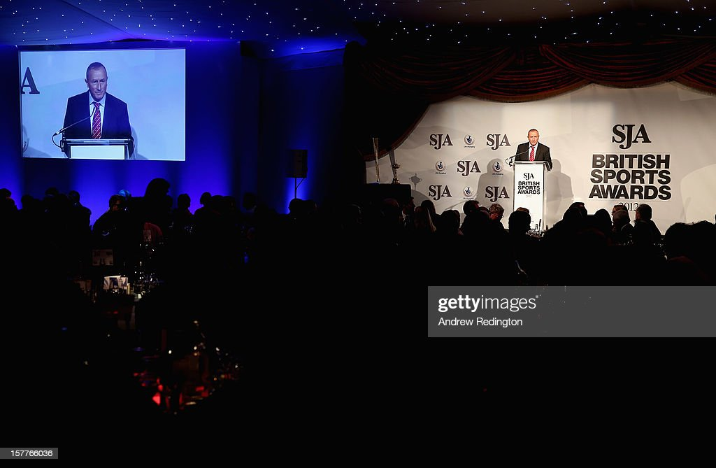 A general view of the room as Jim Rosenthal addresses the assembled gathering during the SJA 2012 British Sports Awards at The Pavilion at the Tower of London on December 6, 2012 in London, England.