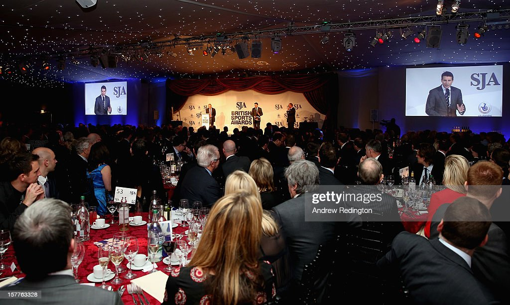 A general view of the room as Lord <a gi-track='captionPersonalityLinkClicked' href=/galleries/search?phrase=Sebastian+Coe&family=editorial&specificpeople=160624 ng-click='$event.stopPropagation()'>Sebastian Coe</a> receives the JL Manning award during the SJA 2012 British Sports Awards at The Pavilion at the Tower of London on December 6, 2012 in London, England.