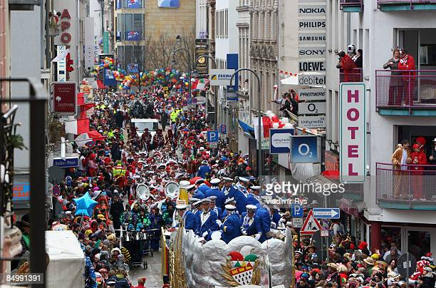 A general view of the 'Rosenmontagzug' is seen during a 'Rose Monday' traditional carnival in Rhine area on February 23 2009 in Cologne Germany