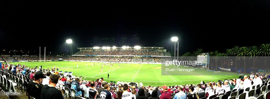 A general view of the round four NRL match between the Manly Sea Eagles and the Wests Tigers at Bluetongue Stadium on March 28, 2013 in Gosford, Australia.