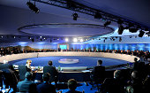 A general view of the round table including German Chancellor Angela Merkel at the NATO Summit on September 4 2014 in Newport Wales Leaders and...