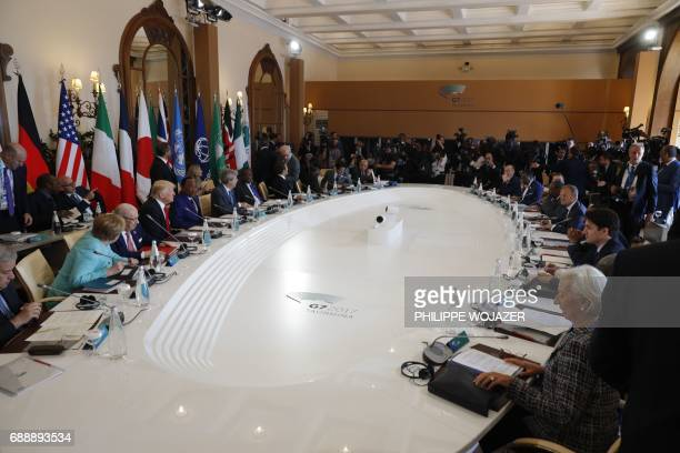 General view of the round table where G7 Summit leaders and leaders from African countries attend an expanded session during the Summit of the Heads...