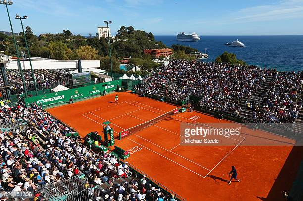 A general view of the round three match between Jiri Vesely of the Czech Republic and Gael Montfils of France on day five of Monte Carlo Rolex...