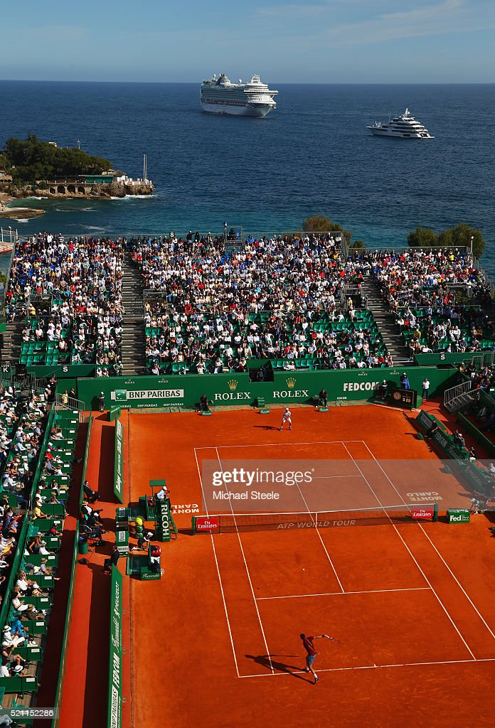 A general view of the round three match between <a gi-track='captionPersonalityLinkClicked' href=/galleries/search?phrase=Roger+Federer&family=editorial&specificpeople=157480 ng-click='$event.stopPropagation()'>Roger Federer</a> of Switzerland and Roberto Bautista Agut of Spain on day five of Monte Carlo Rolex Masters at Monte-Carlo Sporting Club on April 14, 2016 in Monte-Carlo, Monaco.
