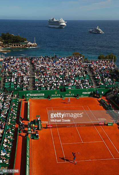 A general view of the round three match between Roger Federer of Switzerland and Roberto Bautista Agut of Spain on day five of Monte Carlo Rolex...