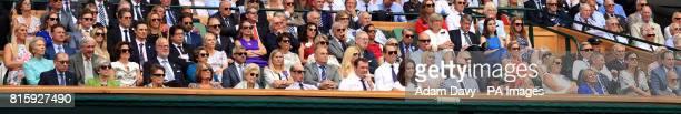 A general view of the Royal Box including Eddie Redmayne Hugh Grant Justin Rose Bradley Cooper Michael McIntyre and British Prime Minister Theresa...