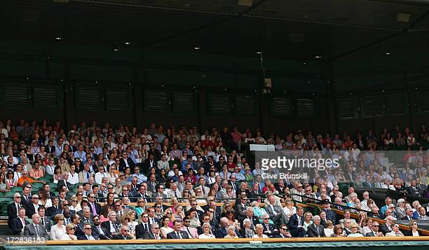 A general view of the Royal Box on Centre Court during the Gentlemen's Singles semifinal match between Novak Djokovic of Serbia and Juan Martin Del...