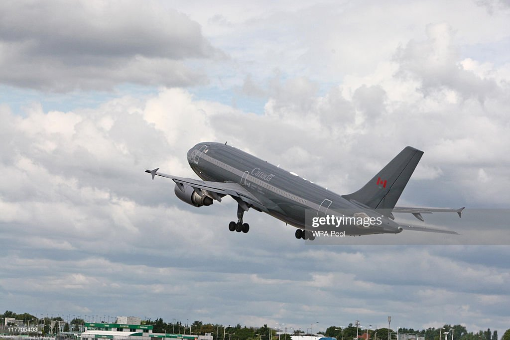 General view of the Royal Canadian Air Force plane carrying Prince William, Duke of Cambridge & Catherine, Duchess of Cambridge at London's Heathrow Airport on June 30, 2011 in London, England. The Duke and Duchess of Cambridge travel to Ottawa for their first overseas tour as a married couple, the 11 day tour will take them to Canada and then on to California.