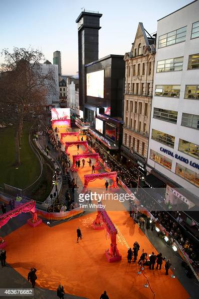 General view of The Royal Film Performance and World Premiere of 'The Second Best Exotic Marigold Hotel' at Odeon Leicester Square seen from the...