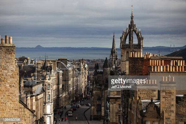 A general view of the Royal Mile on February 21 2012 in Edinburgh Scotland A favourite with visitors and one of the busiest streets in the city the...