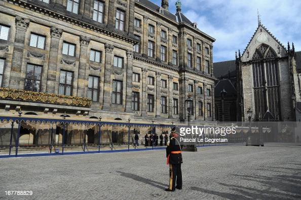 A general view of the Royal Palace before the Royal Family appear on the balcony to greet the public after the abdication of Queen Beatrix of The...