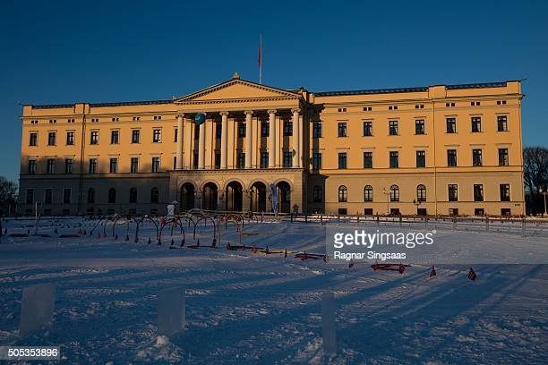 A general view of the Royal Palace on January 17 2016 in Oslo Norway