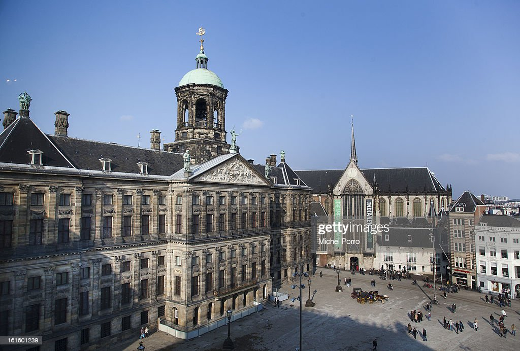 General view of the Royal Palace, the venue of the April 30, 2013 abdication of Queen Beatrix of The Netherlands, on February 12, 2013 in Amsterdam, Netherlands.