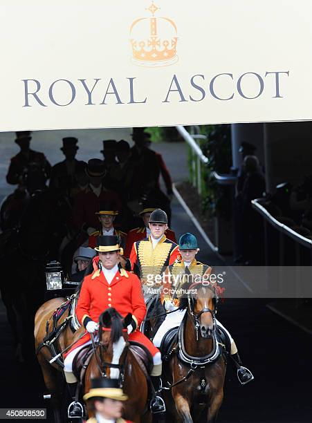 A general view of the Royal Procession on day two of Royal Ascot at Ascot Racecourse on June 18 2014 in Ascot England