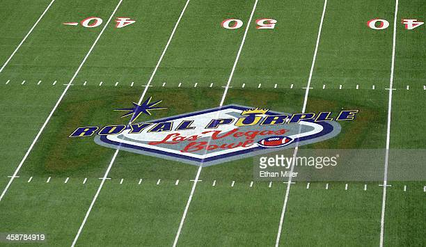A general view of the Royal Purple Las Vegas Bowl logo on the field at Sam Boyd Stadium as the Fresno State Bulldogs and the USC Trojans play on...