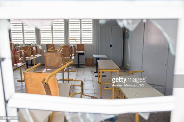 A general view of the rubbles at Saint Martin III's College in the Orleans neighborhood eleven days after the passage of hurricane Irma on September...