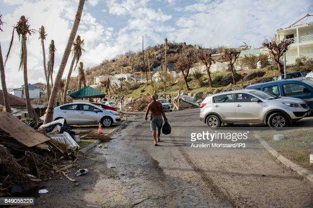 A general view of the rubbles in the Oyster Pond neighborhood ten days after the passage of hurricane Irma on September 15 2017 in Saint Martin...