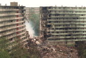 general view of the ruins 05 Oct 1992 of the two appartment buildings which were hit by the crashing El Al cargo Boeing 747 Four crew members and 39...